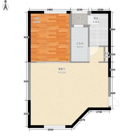 西郊三村1室1厅1卫1厨55.10㎡户型图