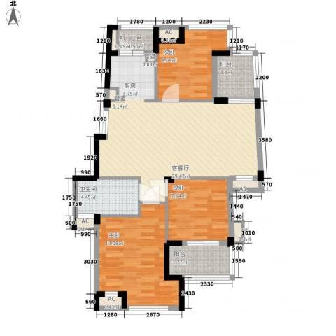 东鼎世纪3室1厅1卫0厨107.00㎡户型图
