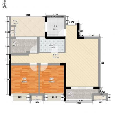 金辉・悦府2室1厅1卫1厨86.00㎡户型图
