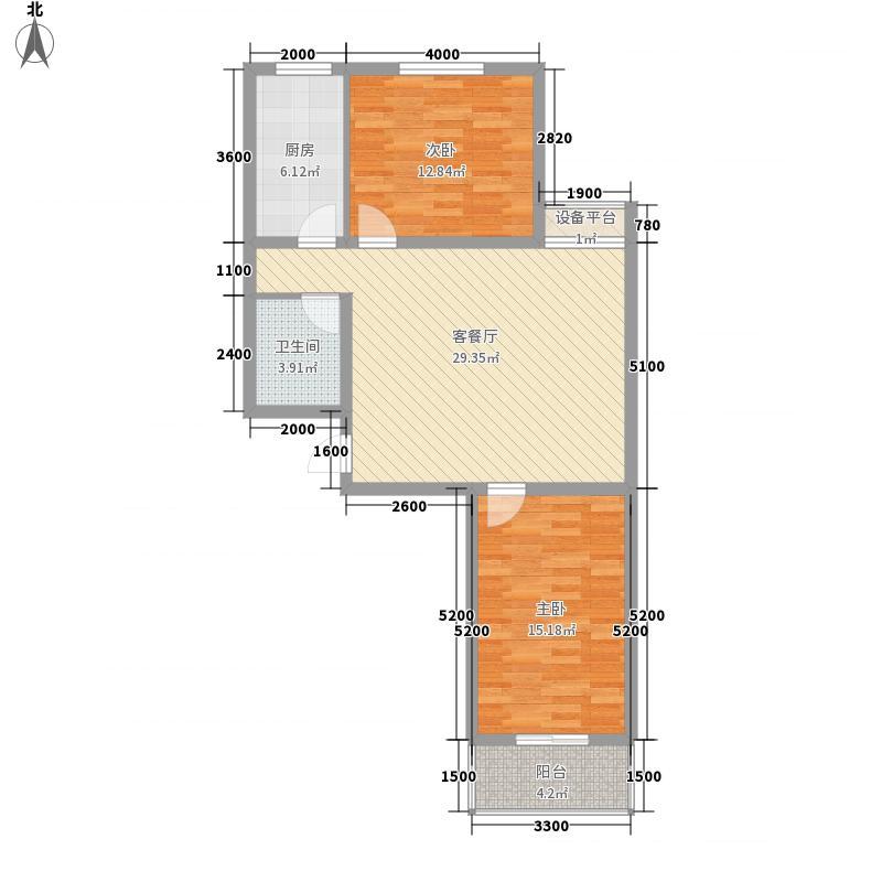 郡宇・万象城14.43㎡C户型2室2厅1卫