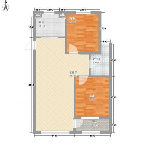 新城丽景2室1厅1卫1厨81.00㎡户型图