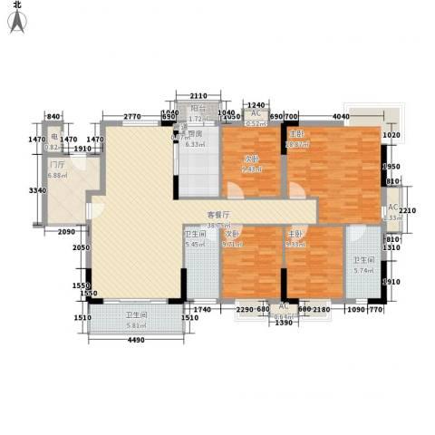 石竹山水园四期4室1厅3卫1厨171.00㎡户型图