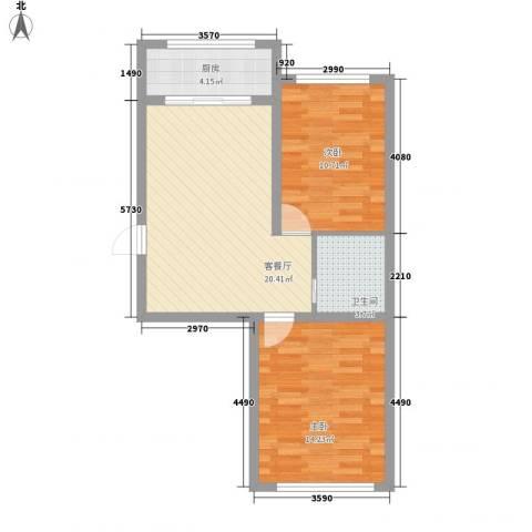 金地卡诗维亚2室1厅1卫1厨72.00㎡户型图