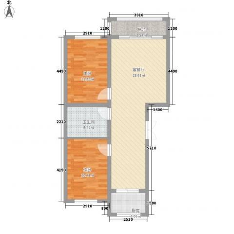 金地卡诗维亚2室1厅1卫1厨87.00㎡户型图