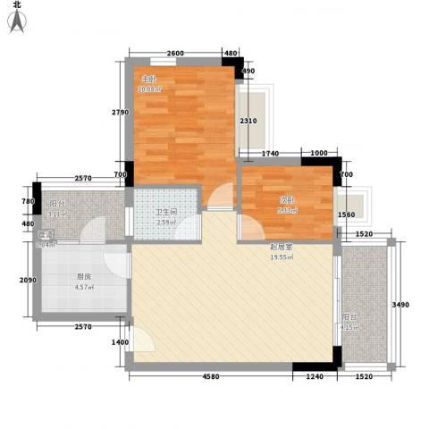 美林海岸花园云河轩2室0厅1卫1厨71.00㎡户型图