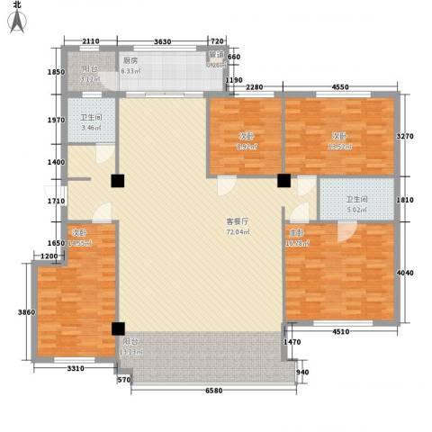 文华花园4室1厅2卫1厨197.00㎡户型图