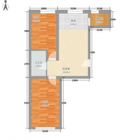 东滩花园2室0厅1卫0厨74.00㎡户型图