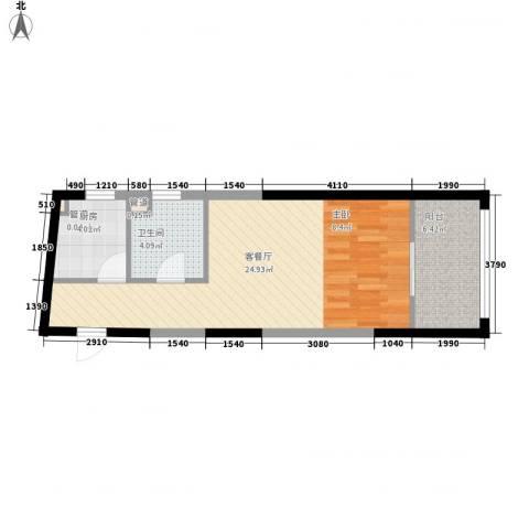 恒盛豪庭1厅1卫1厨56.00㎡户型图