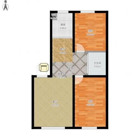 中泽城2室1厅1卫1厨80.00㎡户型图