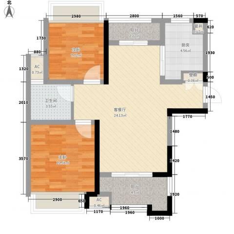 高速滨湖时代广场2室1厅1卫1厨87.00㎡户型图