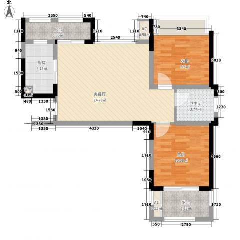 高速滨湖时代广场2室1厅1卫1厨88.00㎡户型图