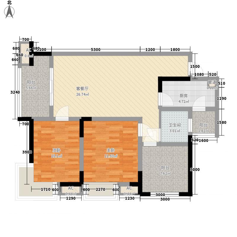 北湖龙郡88.19㎡三期d1-1户型2室2厅1卫1厨