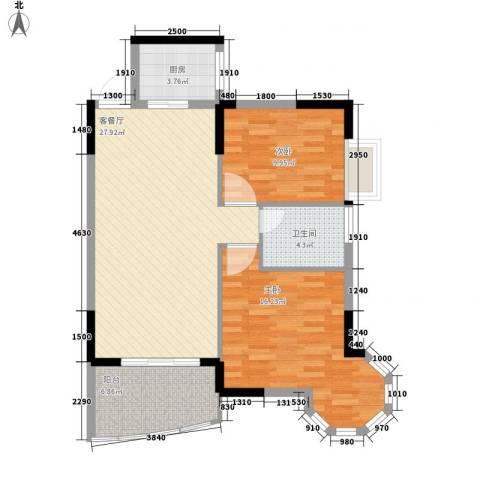 皇家公馆2室1厅1卫1厨86.00㎡户型图