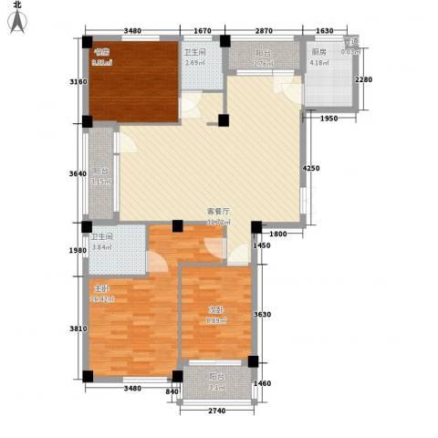 冠城晶典3室1厅2卫1厨123.00㎡户型图