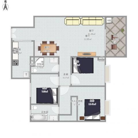 水禾园三期3室1厅1卫1厨116.00㎡户型图