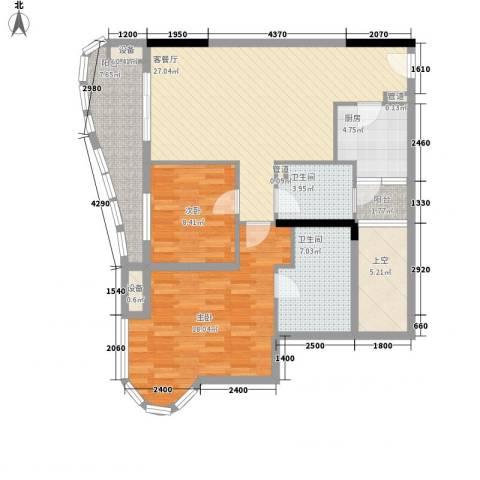 碧海蓝天三期2室1厅2卫1厨123.00㎡户型图