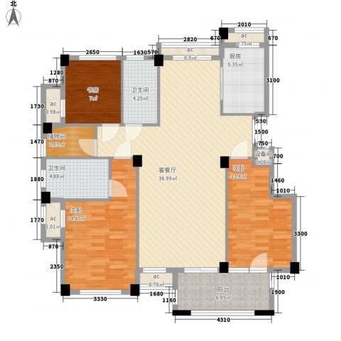 冠城晶典3室1厅2卫1厨142.00㎡户型图