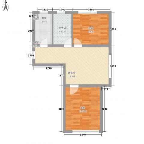 新城丽景2室1厅1卫1厨68.00㎡户型图