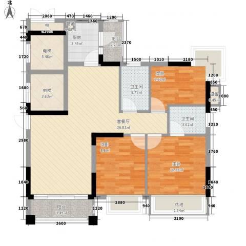 元邦明月金岸3室1厅2卫1厨113.00㎡户型图