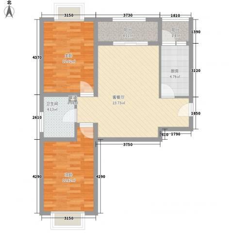 白鹿花园2室1厅1卫1厨91.00㎡户型图