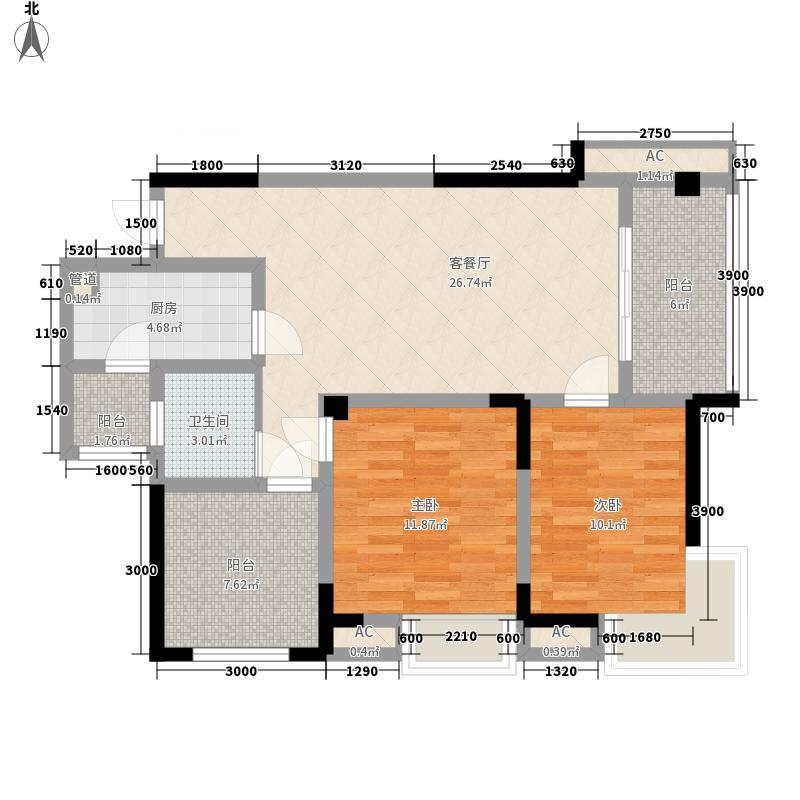 北湖龙郡88.51㎡三期d1-2户型2室2厅1卫1厨