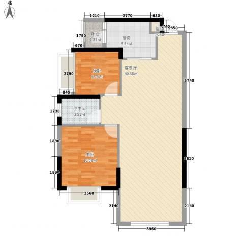 新地东方明珠2室1厅1卫1厨98.00㎡户型图