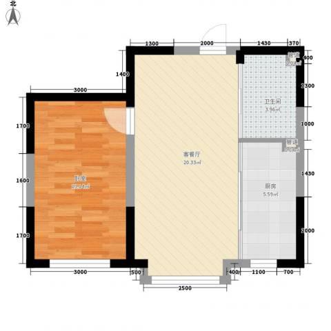新星宇和源1厅1卫1厨61.00㎡户型图