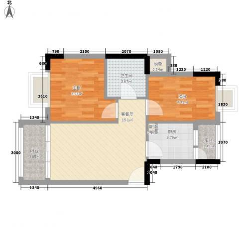 怡丰昌盛大厦2室1厅1卫1厨66.00㎡户型图