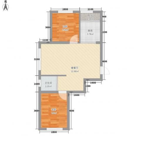 新星宇和源2室1厅1卫1厨65.00㎡户型图