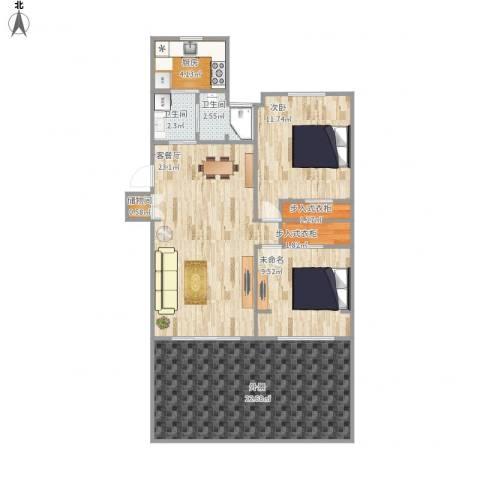 金杨新村1室1厅2卫1厨108.00㎡户型图