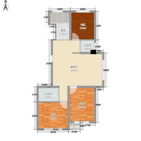 新星宇和源3室1厅2卫1厨93.00㎡户型图