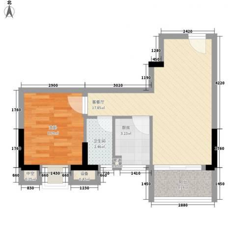 怡丰昌盛大厦1室1厅1卫1厨53.00㎡户型图