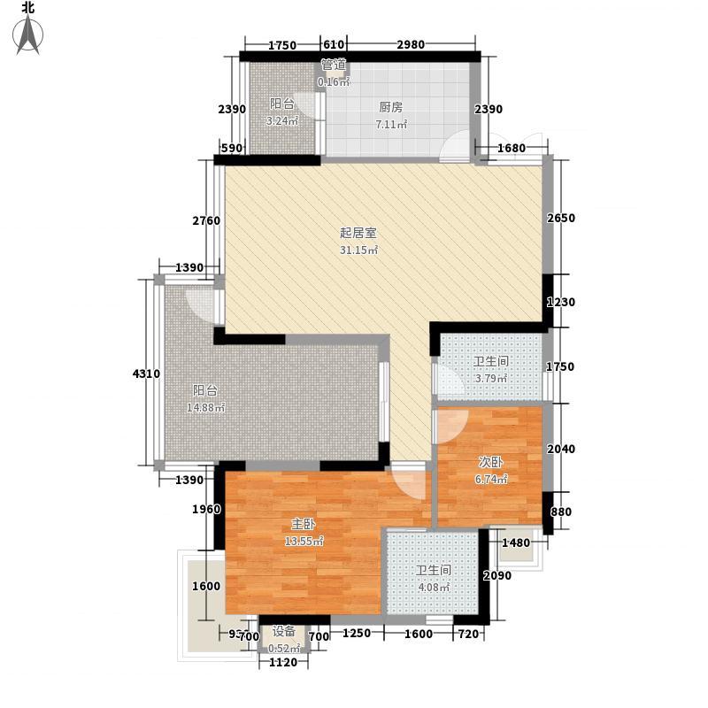 黔灵山国际社区108.74㎡黔灵山国际社区户型图C栋3号房2室2厅2卫1厨户型2室2厅2卫1厨