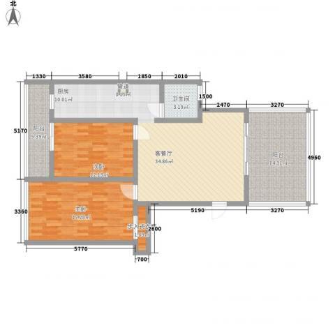 冠城晶典2室1厅1卫0厨127.00㎡户型图