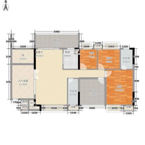 时代名轩3室1厅2卫1厨135.00㎡户型图