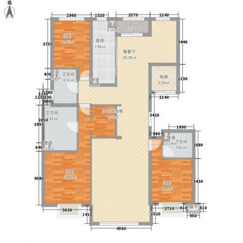 京投银泰・琨御府3室1厅3卫1厨183.00㎡户型图