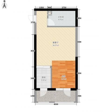 小平岛1厅1卫1厨42.00㎡户型图