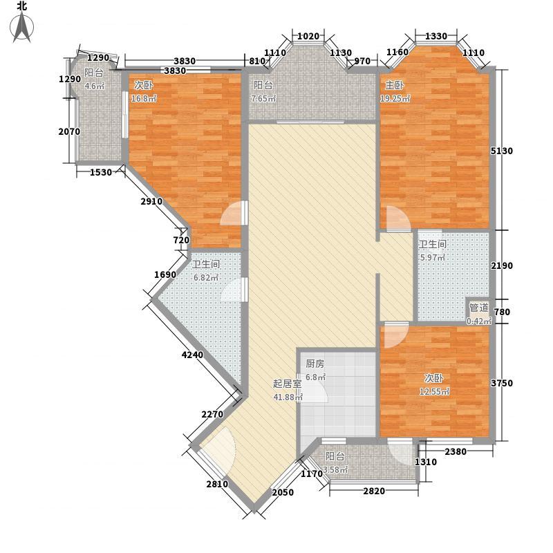阳光广场三居室户型3室1厅2卫1厨
