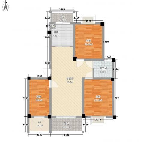 沃得雅苑3室1厅1卫1厨70.80㎡户型图