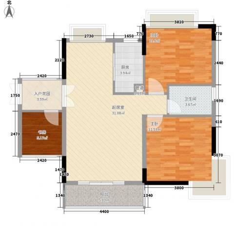 皇家公馆3室0厅1卫1厨93.00㎡户型图