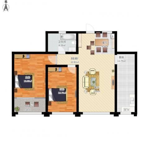 东方明珠广场2室1厅1卫1厨135.00㎡户型图