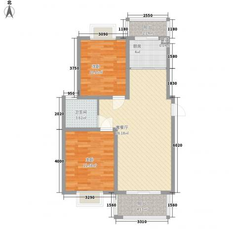 沃得雅苑2室1厅1卫1厨61.94㎡户型图
