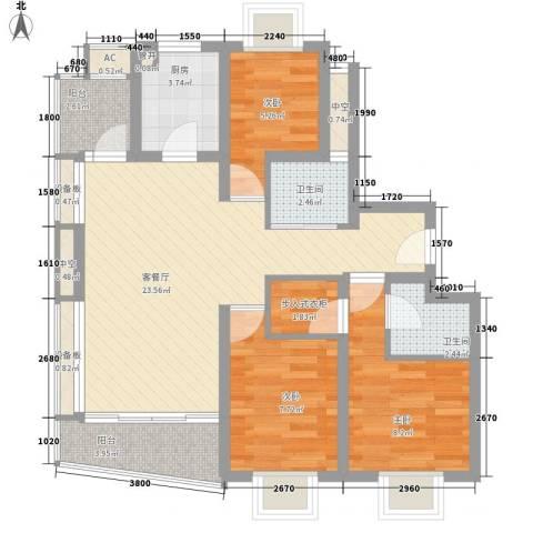 万豪花园3室1厅2卫1厨98.00㎡户型图