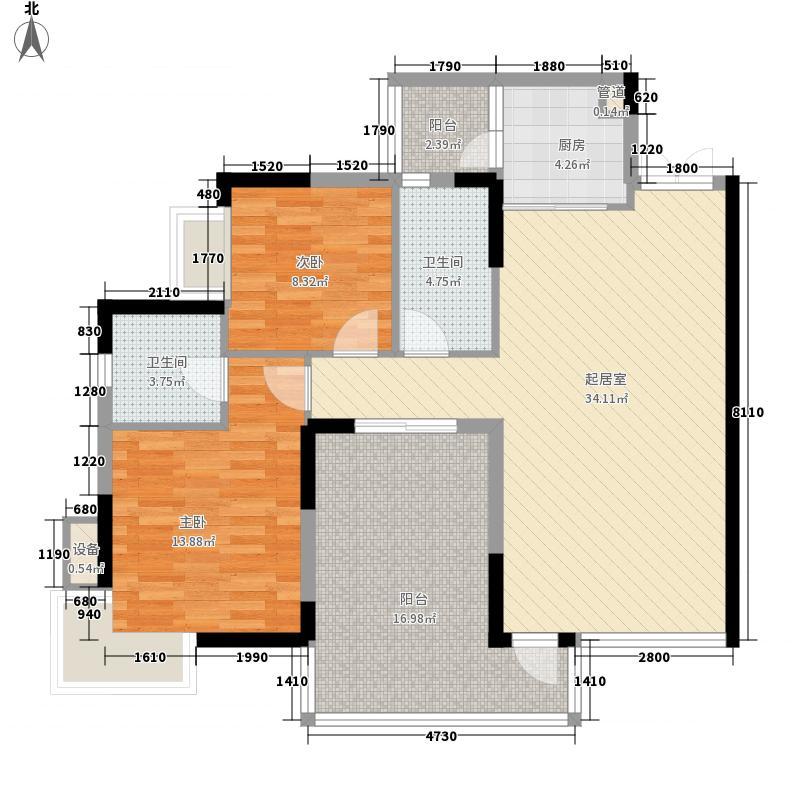黔灵山国际社区107.74㎡黔灵山国际社区户型图C栋4号房2室2厅2卫1厨户型2室2厅2卫1厨