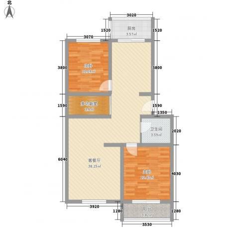 百花园2室1厅1卫1厨109.00㎡户型图