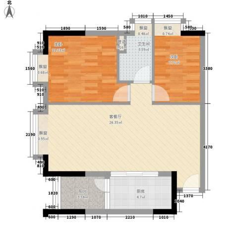 君华上域2室1厅1卫1厨82.00㎡户型图