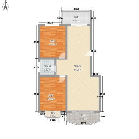 百花园2室1厅1卫1厨118.00㎡户型图