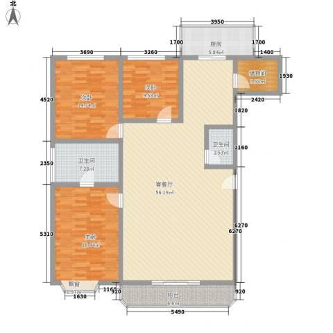 百花园3室1厅2卫1厨176.00㎡户型图