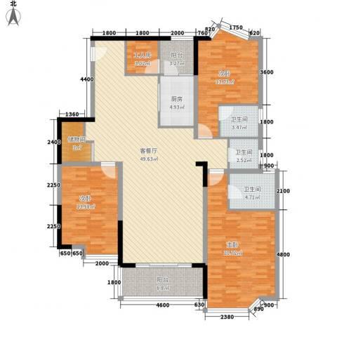 芳桂园3室1厅3卫1厨149.00㎡户型图