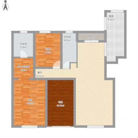 恒瑞大湖山语3室1厅2卫1厨144.00㎡户型图